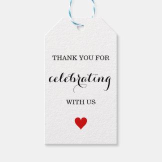 Gracias las etiquetas del favor del boda