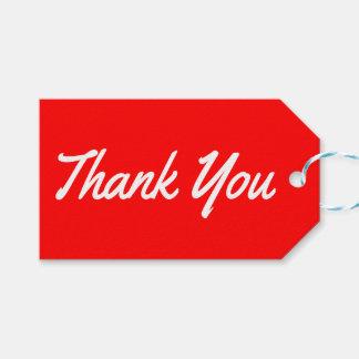Gracias las etiquetas rojas y blancas del regalo etiquetas para regalos