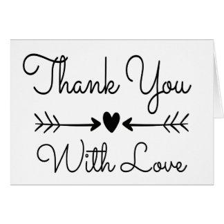 Gracias las flechas blancos y negros del corazón y tarjeta pequeña