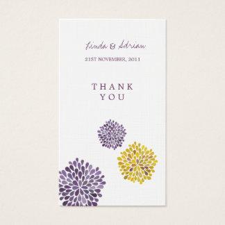 Gracias las floraciones amarillas púrpuras de las tarjeta de visita