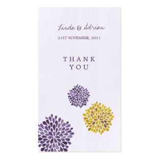 Gracias las floraciones amarillas púrpuras de las tarjetas de visita