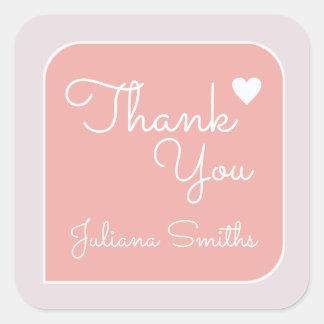 gracias/las gracias del rosa pegatina cuadrada