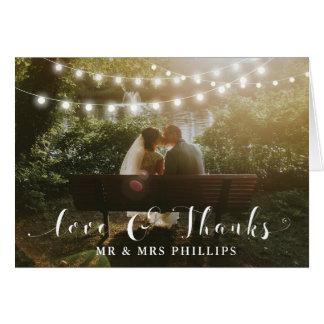 Gracias las luces dobladas boda de las tarjetas de