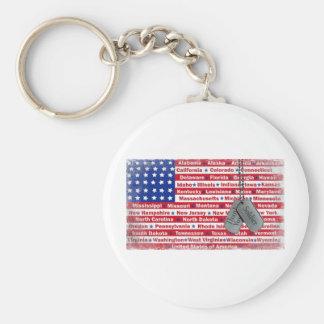Gracias las placas de identificación del soldado llaveros