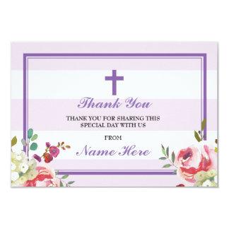 Gracias las tarjetas florales de la raya púrpura invitación 8,9 x 12,7 cm