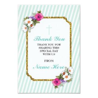 Gracias las tarjetas florales de la raya religiosa invitación 8,9 x 12,7 cm