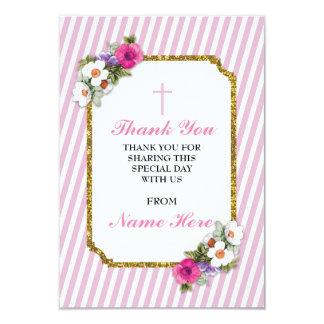 Gracias las tarjetas florales de la raya rosada