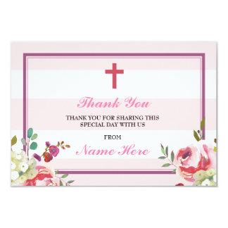 Gracias las tarjetas florales de la raya rosada invitación 8,9 x 12,7 cm
