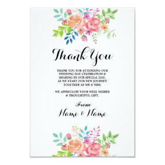Gracias las tarjetas florales del banquete de boda invitación 8,9 x 12,7 cm