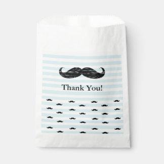 Gracias los bolsos rayados azules y blancos del bolsa de papel