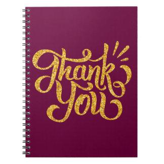 Gracias los brillos chispeantes de oro simples cuaderno