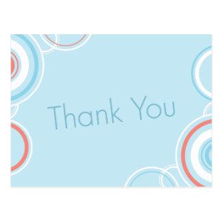 Gracias los círculos rosados y azules - postal