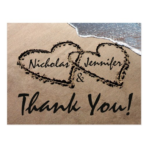 Gracias los corazones escritos en postal del boda