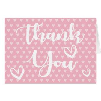Gracias los corazones rosados y blancos - boda, tarjeta pequeña