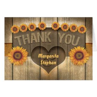 gracias los girasoles y las invitaciones de boda tarjeta de felicitación