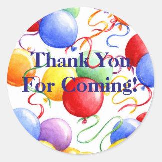 Gracias los globos del fiesta de los pegatinas pegatina redonda