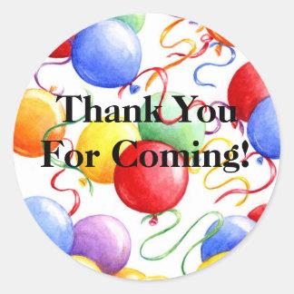 Gracias los globos Roun del fiesta de los Pegatina Redonda