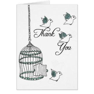 Gracias los pájaros tarjeta de felicitación