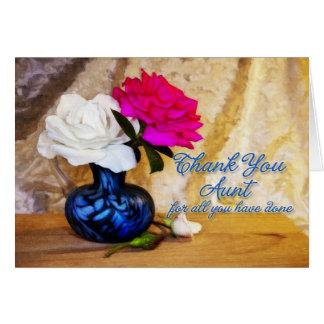Gracias los rosas por una tía tarjeta de felicitación