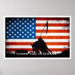 Gracias los veteranos - silueta de la bandera y poster