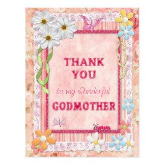 Gracias madrina, tarjeta del arte de las flores postal