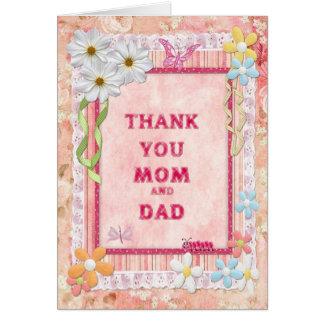 Gracias mamá y papá, tarjeta del arte de las