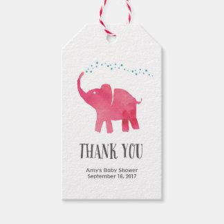 Gracias marca el elefante rosado de las etiquetas etiquetas para regalos