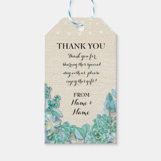 Gracias marcar el boda suculento de las etiquetas