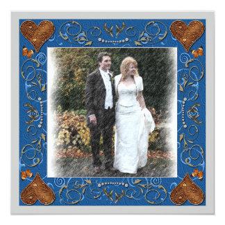 Gracias marco de la foto del boda invitación 13,3 cm x 13,3cm