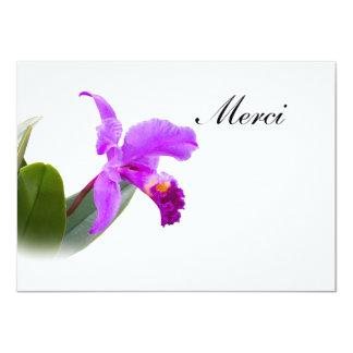 Gracias, Merci, francés, tarjeta de la orquídea Invitación 11,4 X 15,8 Cm
