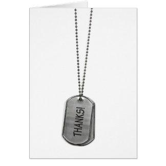 Gracias militares de las placas de identificación tarjeta de felicitación