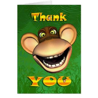 Gracias monkey la cara, tarjeta alegre feliz