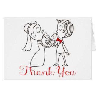Gracias negro de novia y del novio, boda rojo tarjeta pequeña