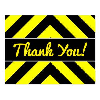 """Gracias!"" + Negro y amarillo Chevron-Como modelo Postal"