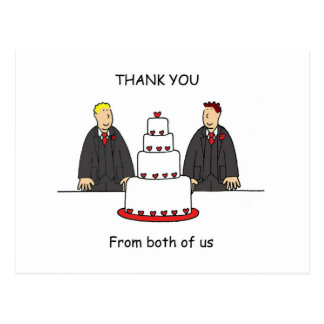 Gracias nosotros dos, dos novios postal