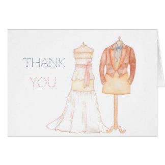 Gracias nota del boda del watercolour con palabras tarjeta de felicitación