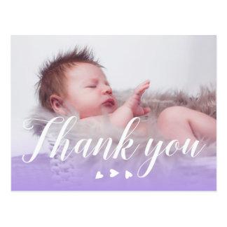 Gracias nuevo bebé del | el | púrpura y los postal