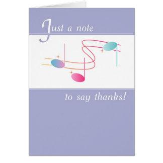 Gracias observar con las notas de la música tarjeta