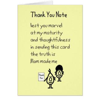 Gracias observar - un divertido le agradece poema tarjeta