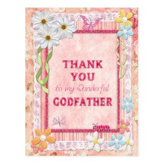 Gracias padrino, tarjeta del arte de las flores postales