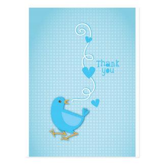 Gracias pájaro azul postales