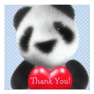 ¡Gracias! Panda azul del corazón del lunar Invitación 13,3 Cm X 13,3cm