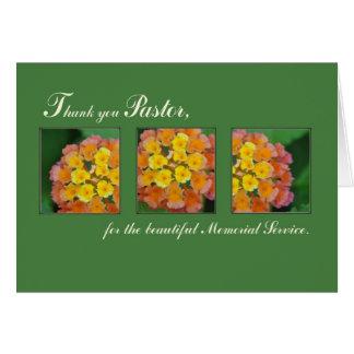 Gracias pastor, funeral conmemorativo, flor tarjeton