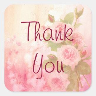 Gracias pegatina color de rosa rústico del vintage