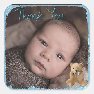 Gracias pegatina de la foto del bebé