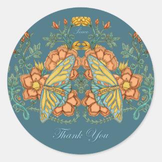 Gracias pegatina de la mariposa