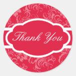 Gracias pegatina (el rojo sofisticado)