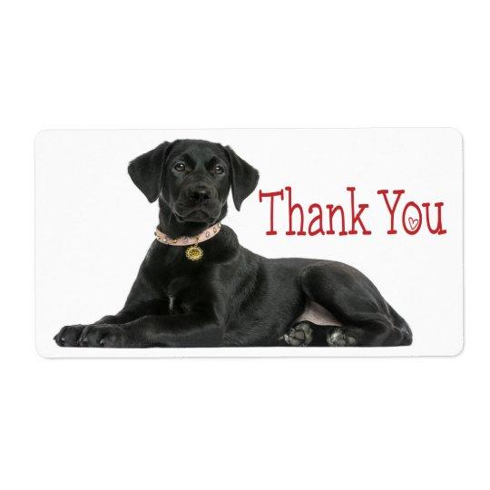 Gracias pegatina negro del perro del labrador etiquetas de envío