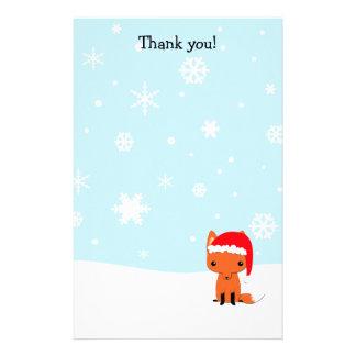 Gracias pone letras al zorro del navidad inmóvil papeleria personalizada