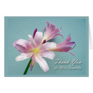 Gracias por condolencia, lirio de la resurrección tarjeta de felicitación